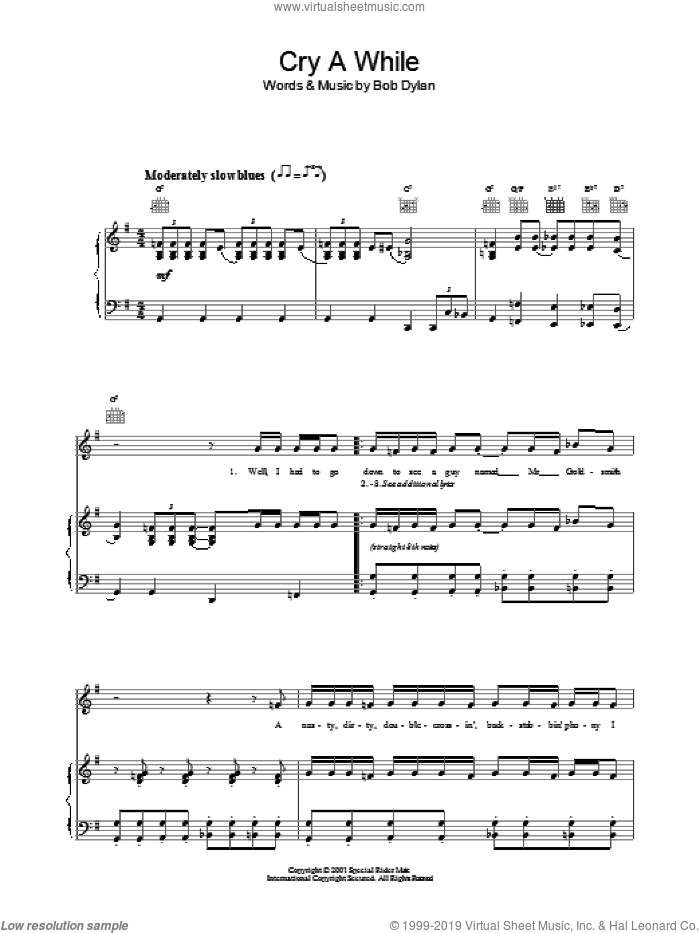 Cry A While sheet music for voice, piano or guitar by Bob Dylan. Score Image Preview.