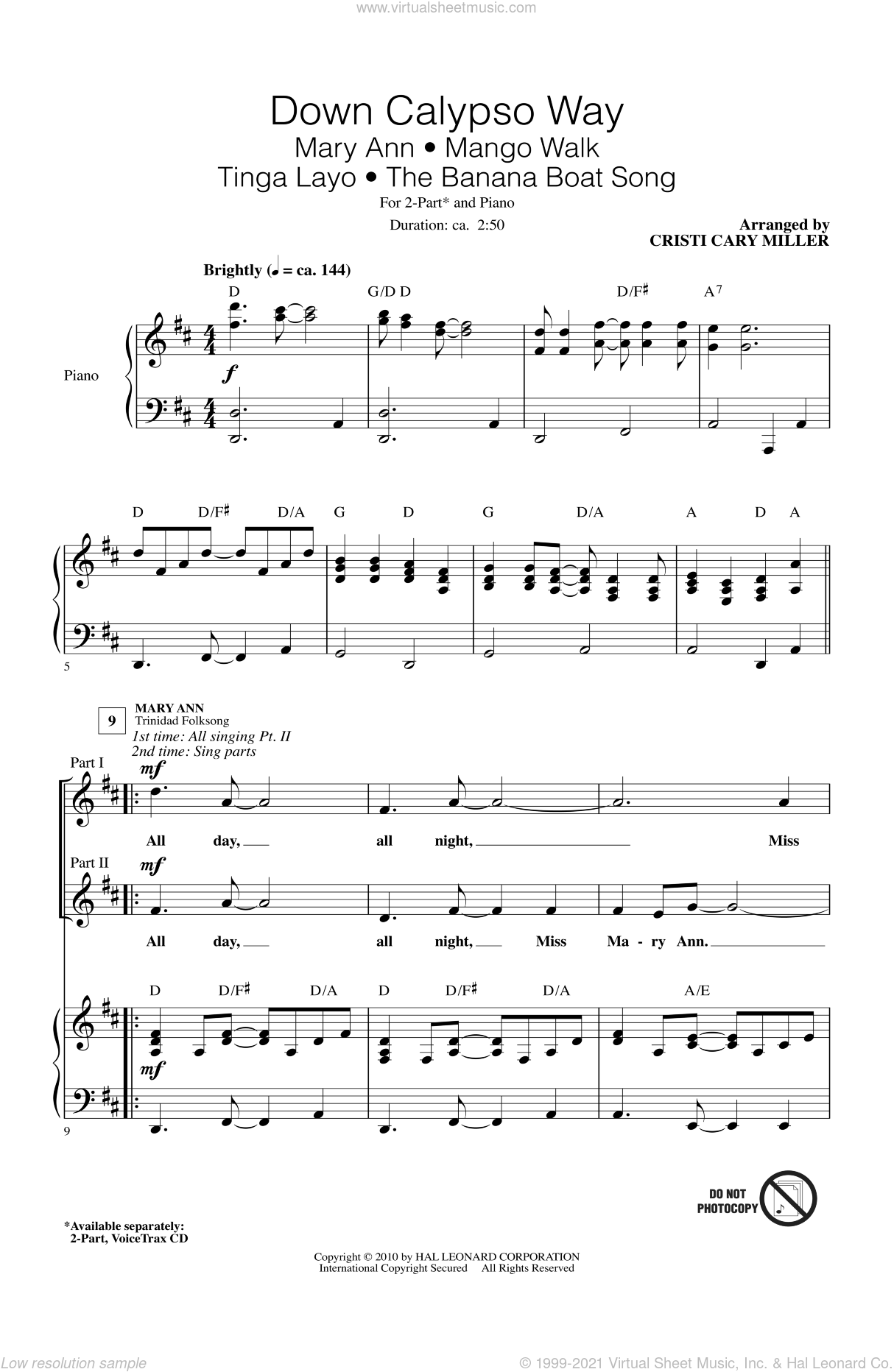 Down Calypso Way sheet music for choir and piano (duets) by Cristi Cary Miller