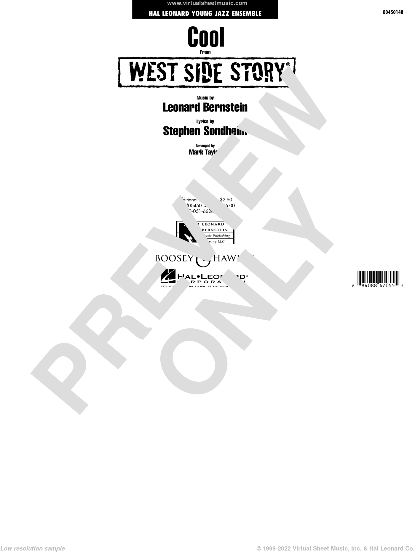 Cool (from West Side Story) (COMPLETE) sheet music for jazz band by Leonard Bernstein, Mark Taylor and Stephen Sondheim. Score Image Preview.