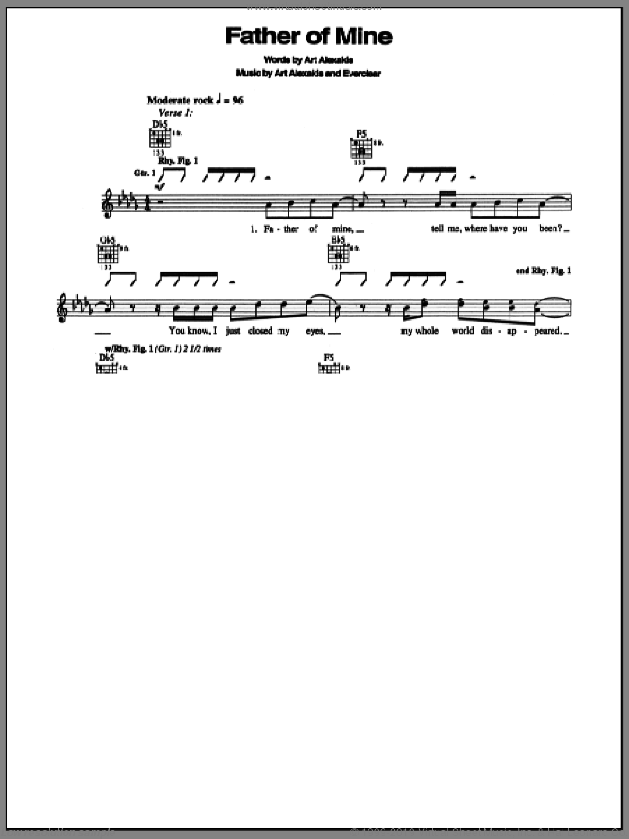 Father Of Mine sheet music for guitar (tablature) by Everclear. Score Image Preview.