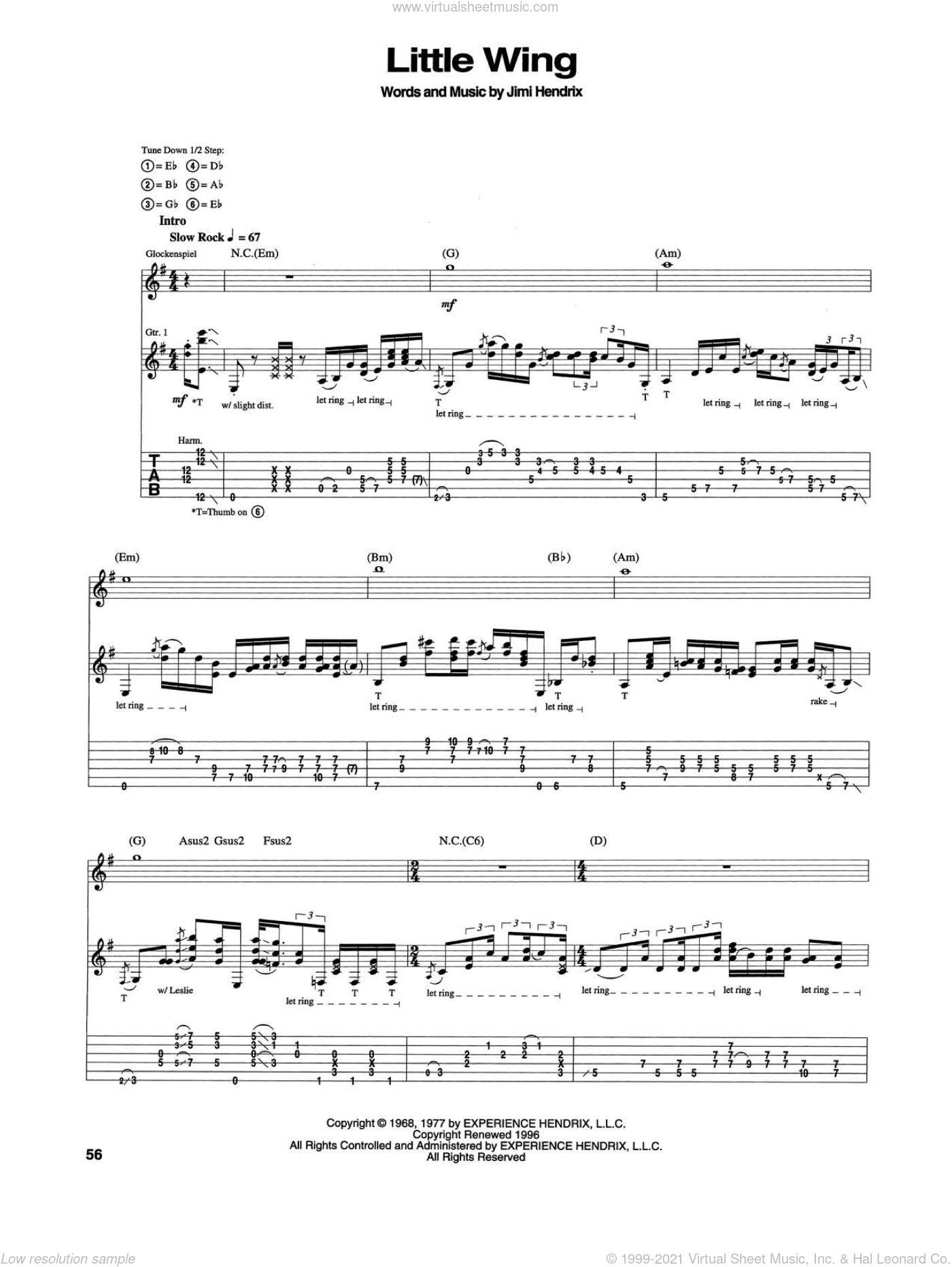Little Wing sheet music for guitar (tablature) by Jimi Hendrix, intermediate skill level