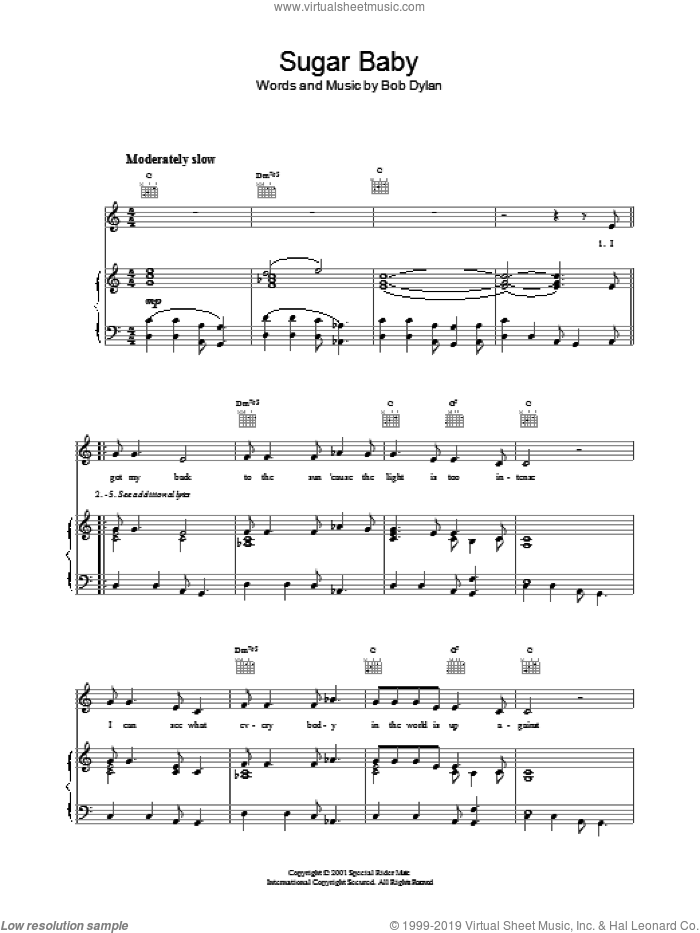 Sugar Baby sheet music for voice, piano or guitar by Bob Dylan, intermediate. Score Image Preview.
