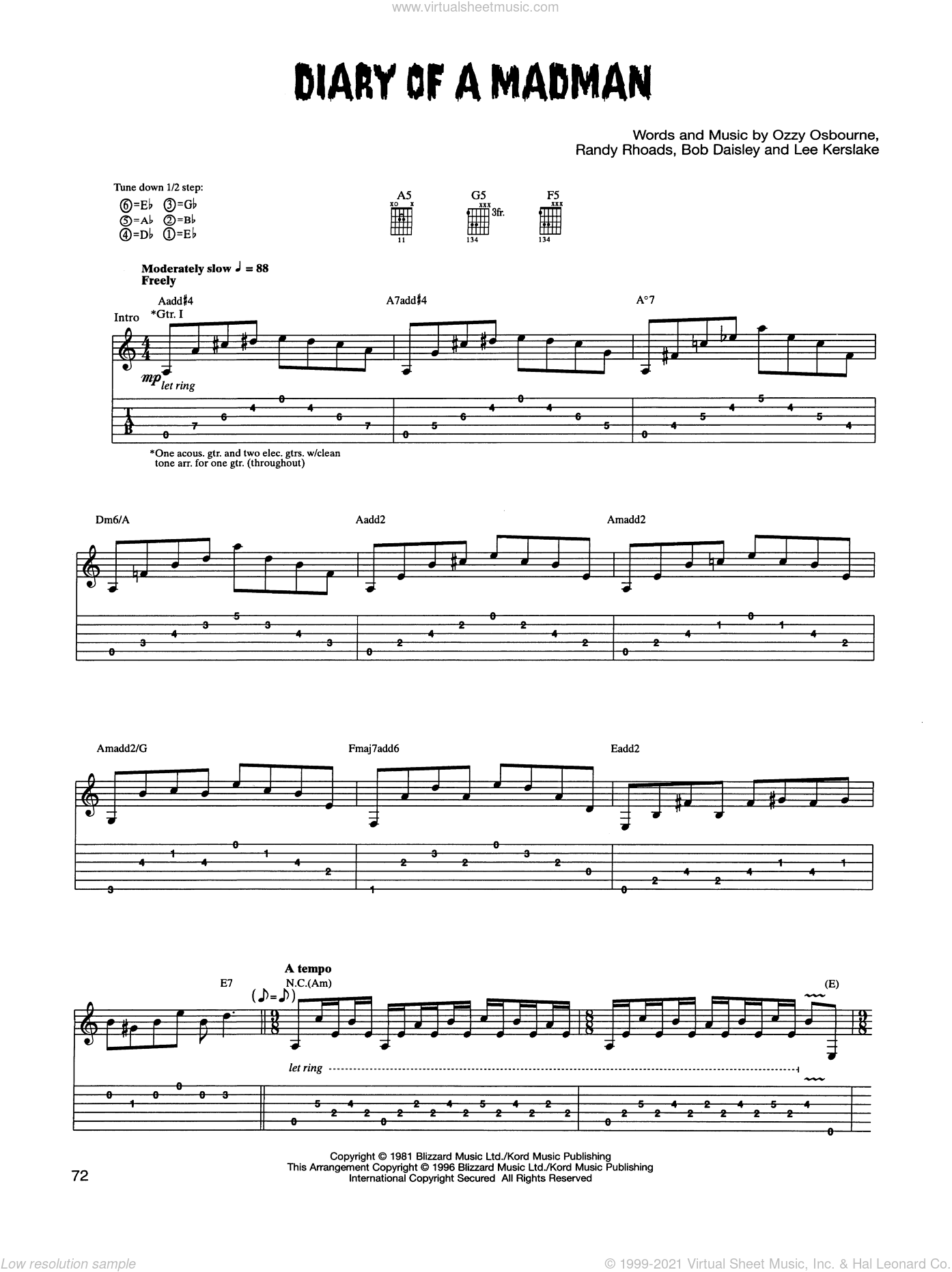 Diary Of A Madman sheet music for guitar (tablature) by Ozzy Osbourne and Randy Rhoads. Score Image Preview.