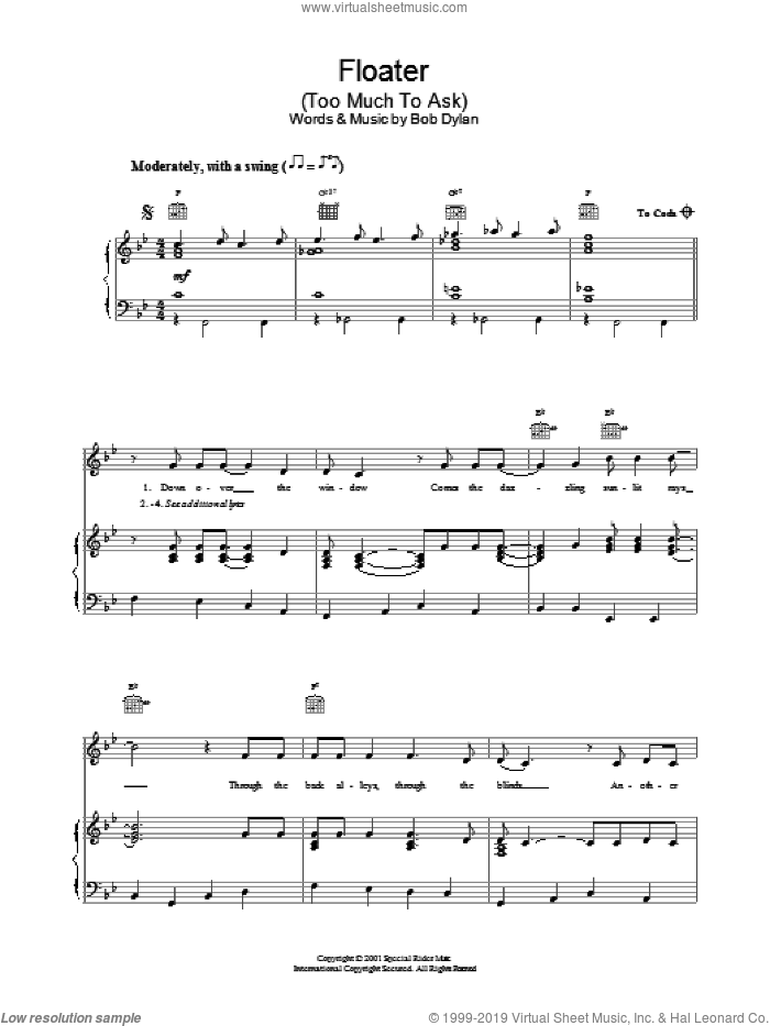Floater sheet music for voice, piano or guitar by Bob Dylan