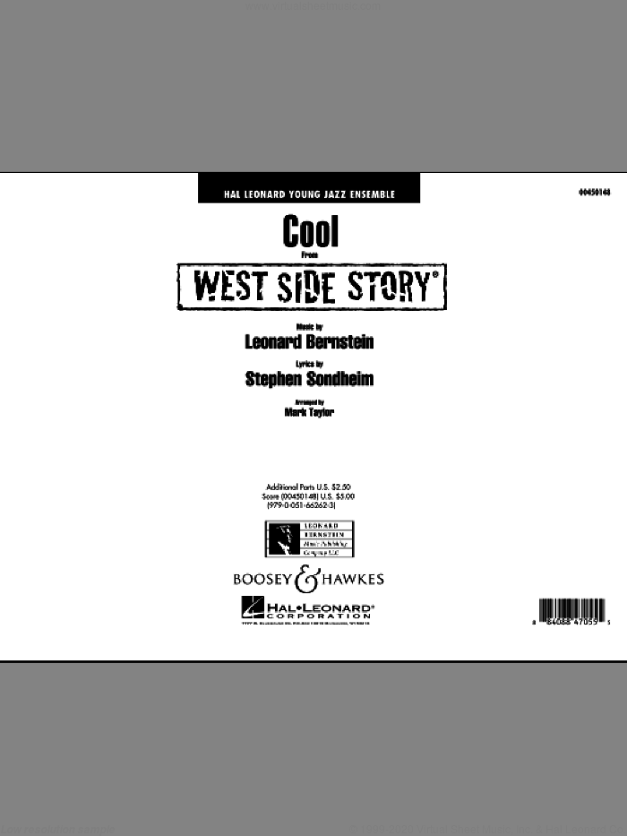 Cool (from West Side Story) (COMPLETE) sheet music for jazz band by Stephen Sondheim, Leonard Bernstein and Mark Taylor, intermediate skill level