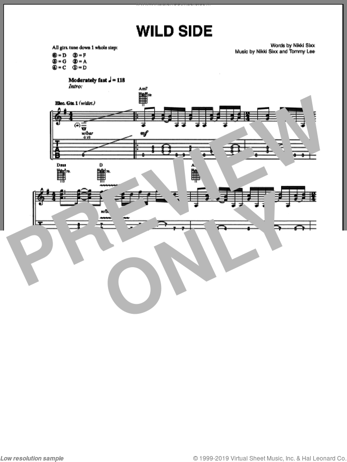 Wild Side sheet music for guitar (tablature) by Tommy Lee, Motley Crue and Nikki Sixx. Score Image Preview.