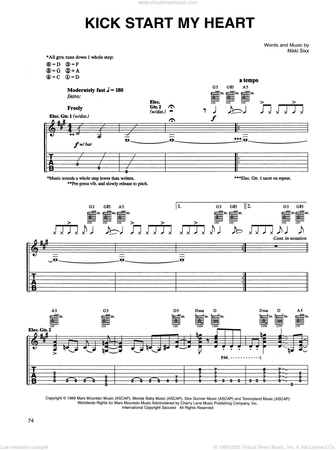 Kick Start My Heart sheet music for guitar (tablature) by Nikki Sixx