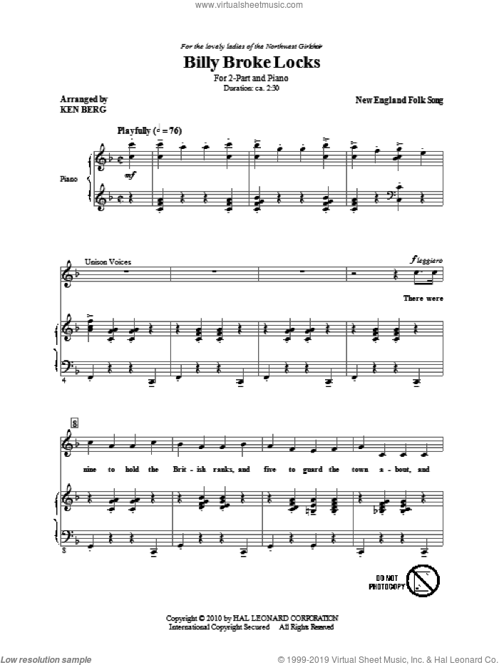 Billy Broke Locks sheet music for choir (duets)  and Ken Berg