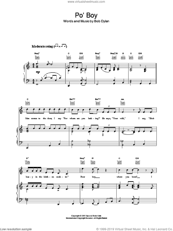 Po' Boy sheet music for voice, piano or guitar by Bob Dylan. Score Image Preview.