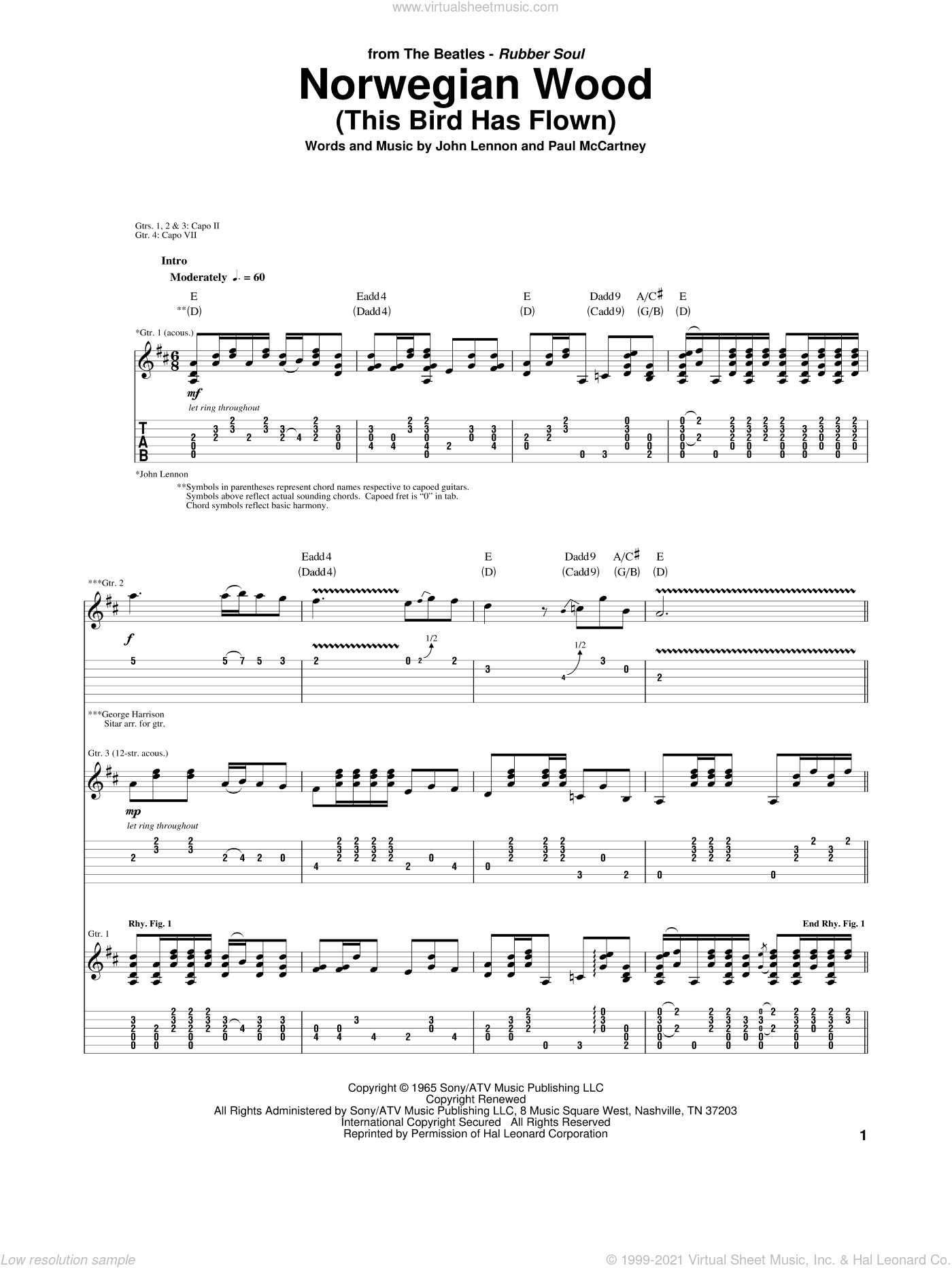 Norwegian Wood (This Bird Has Flown) sheet music for guitar (tablature) by The Beatles, John Lennon and Paul McCartney. Score Image Preview.