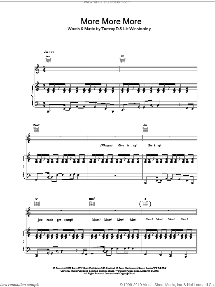 More More More sheet music for voice, piano or guitar by Kylie Minogue, Liz Winstanley and Tommy D, intermediate. Score Image Preview.