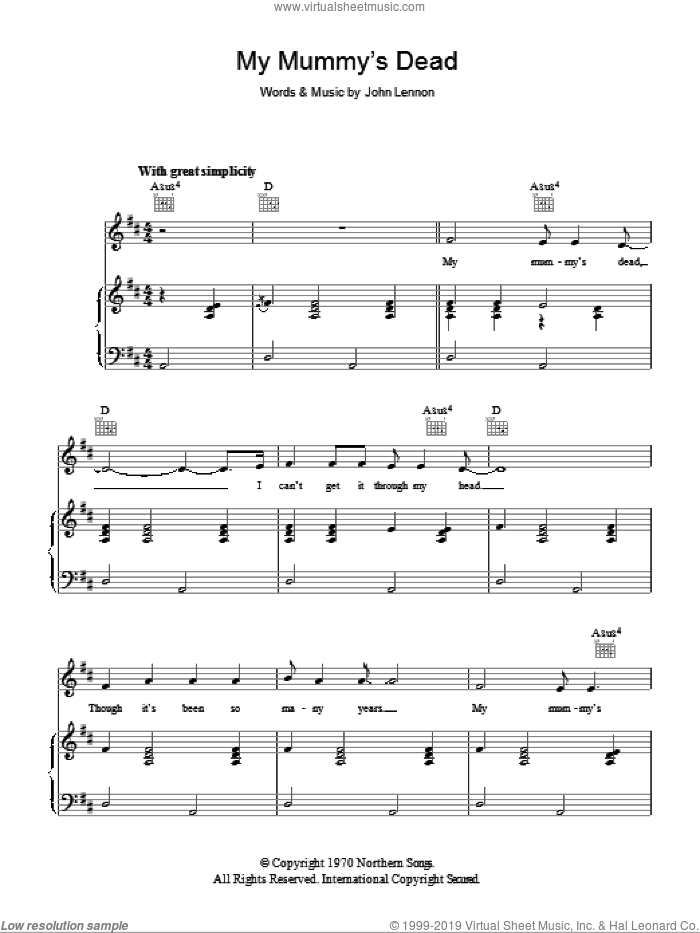 My Mummy's Dead sheet music for voice, piano or guitar by John Lennon, intermediate. Score Image Preview.