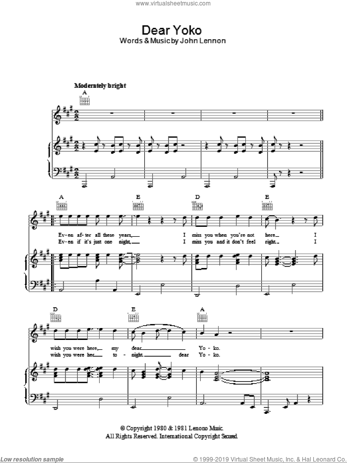 Dear Yoko sheet music for voice, piano or guitar by John Lennon. Score Image Preview.