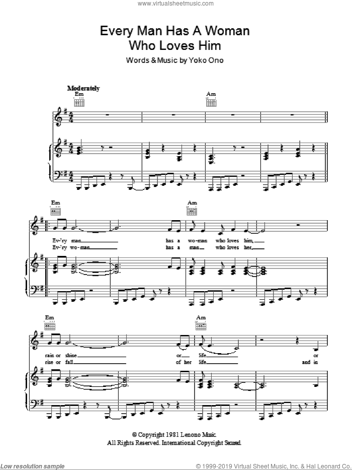 Every Man Has A Woman Who Loves Him sheet music for voice, piano or guitar by Yoko Ono, intermediate voice, piano or guitar. Score Image Preview.