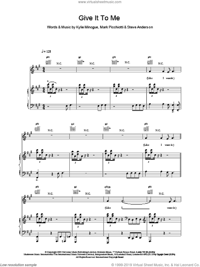 Give It To Me sheet music for voice, piano or guitar by Steve Anderson and Kylie Minogue