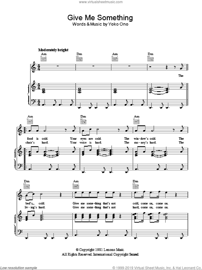 Give Me Something sheet music for voice, piano or guitar by Yoko Ono, intermediate voice, piano or guitar. Score Image Preview.