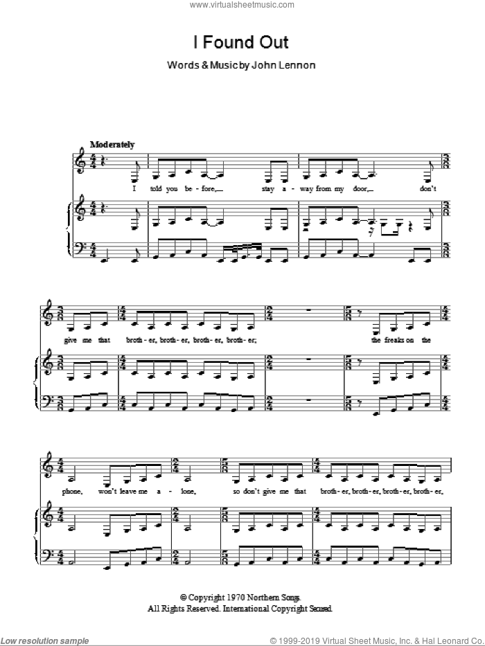 I Found Out sheet music for voice, piano or guitar by John Lennon. Score Image Preview.