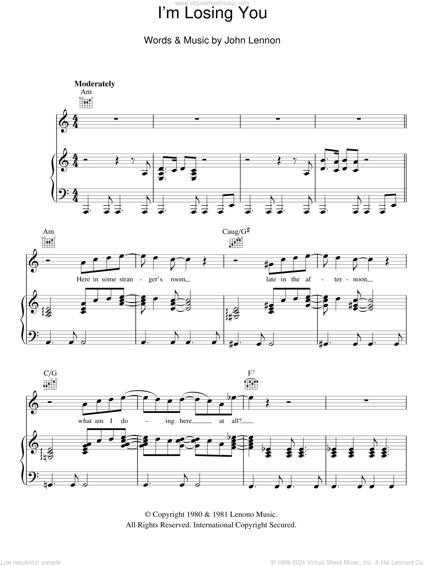 I'm Losing You sheet music for voice, piano or guitar by John Lennon. Score Image Preview.