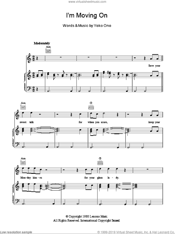 I'm Moving On sheet music for voice, piano or guitar by Yoko Ono, intermediate. Score Image Preview.