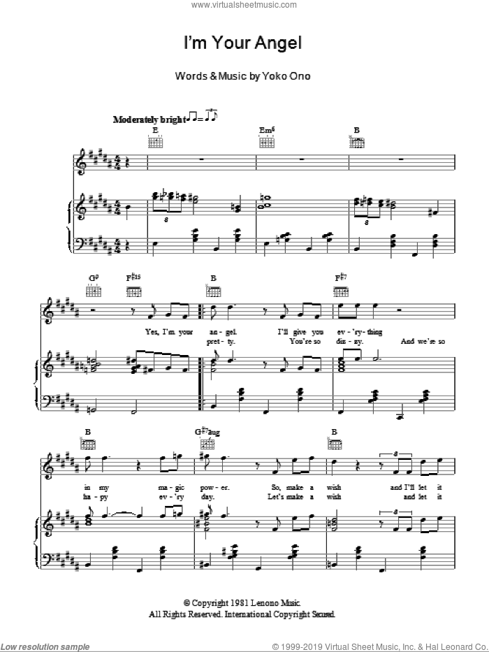 I'm Your Angel sheet music for voice, piano or guitar by Yoko Ono. Score Image Preview.