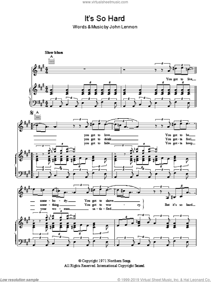 It's So Hard sheet music for voice, piano or guitar by John Lennon. Score Image Preview.