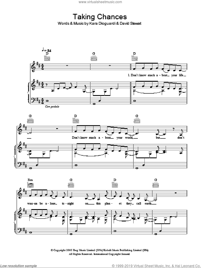 Taking Chances sheet music for voice, piano or guitar by Glee Cast, Celine Dion, Miscellaneous, Dave Stewart and Kara DioGuardi, intermediate skill level