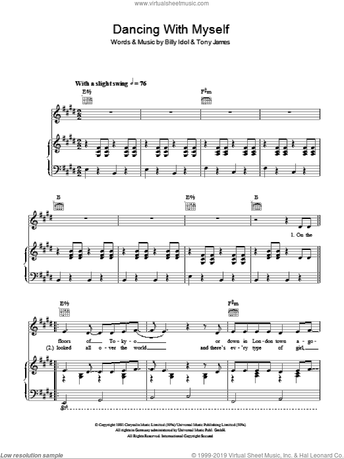 Dancing With Myself sheet music for voice, piano or guitar by Glee Cast, Miscellaneous, Billy Idol and Tony James, intermediate skill level