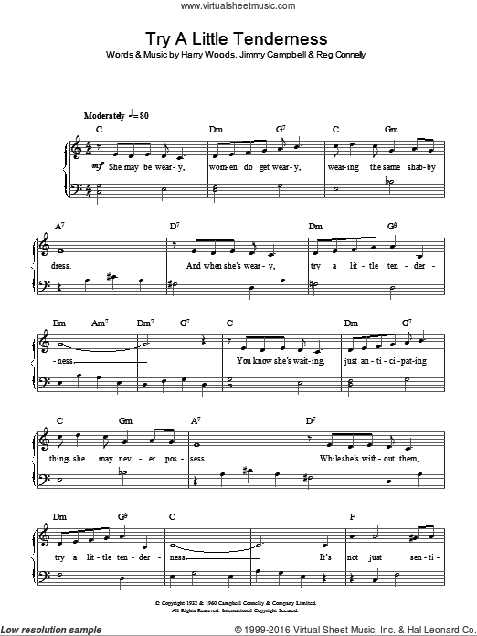 Try A Little Tenderness sheet music for piano solo (chords) by Reg Connelly