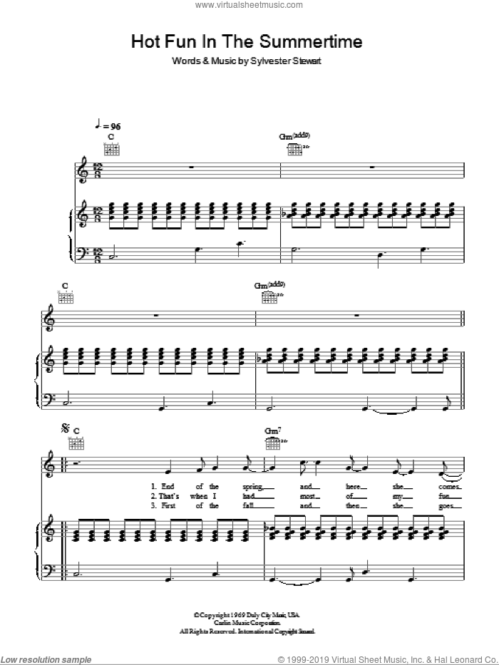 Hot Fun In The Summertime sheet music for voice, piano or guitar by Sly And The Family Stone. Score Image Preview.
