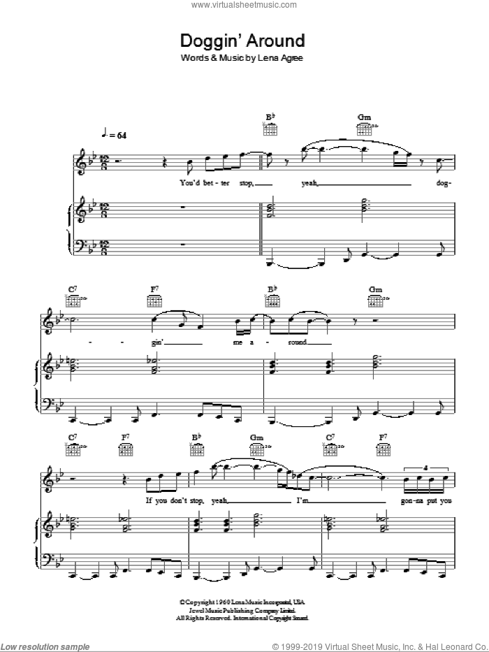 Doggin' Around sheet music for voice, piano or guitar by Lena Agree