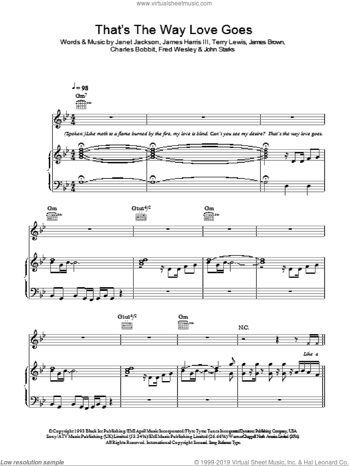 That's The Way Love Goes sheet music for voice, piano or guitar by Janet Jackson, Charles Bobbit, Fred Wesley, James Brown, James Harris, John Starks and Terry Lewis, intermediate skill level