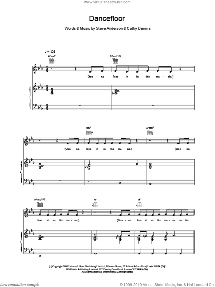 Dancefloor sheet music for voice, piano or guitar by Steve Anderson