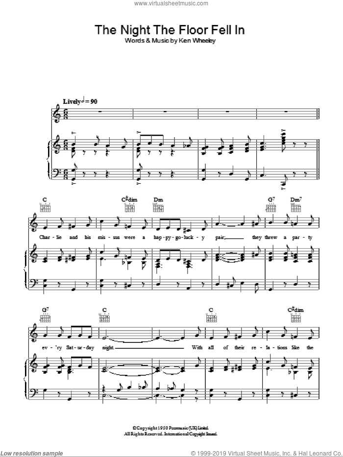 The Night The Floor Fell In sheet music for voice, piano or guitar by Ken Wheeley. Score Image Preview.