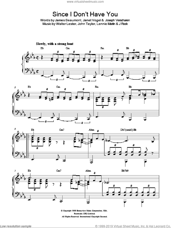 Since I Don't Have You sheet music for piano solo by Walter Lester, The Skyliners and John Taylor. Score Image Preview.