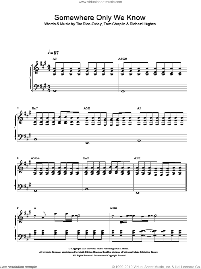 Somewhere Only We Know, (intermediate) sheet music for piano solo by Tim Rice-Oxley, Richard Hughes and Tom Chaplin, intermediate skill level