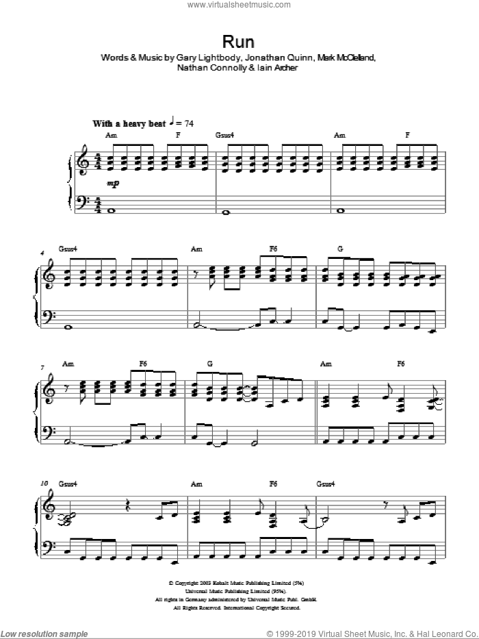 Run sheet music for piano solo by Snow Patrol, Gary Lightbody, Iain Archer, Jonathan Quinn, Mark McClelland and Nathan Connolly, intermediate skill level