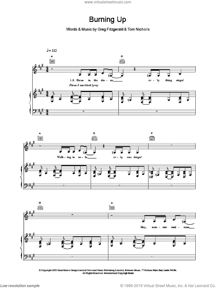 Burning Up sheet music for voice, piano or guitar by Tom Nichols and Kylie Minogue. Score Image Preview.