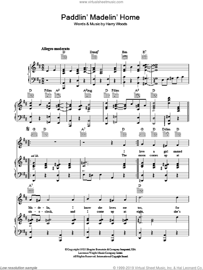 Paddlin' Madelin' Home sheet music for voice, piano or guitar by Harry Woods