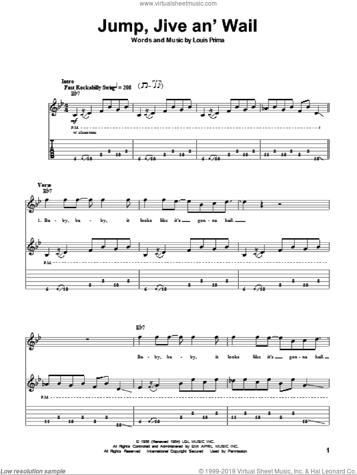 Jump, Jive An' Wail sheet music for guitar (tablature, play-along) by Louis Prima and Brian Setzer, intermediate