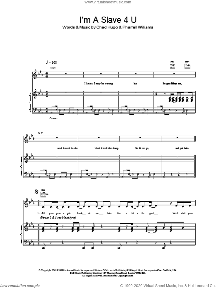 I'm A Slave 4 U sheet music for voice, piano or guitar by Pharrell Williams, Britney Spears and Chad Hugo, intermediate skill level