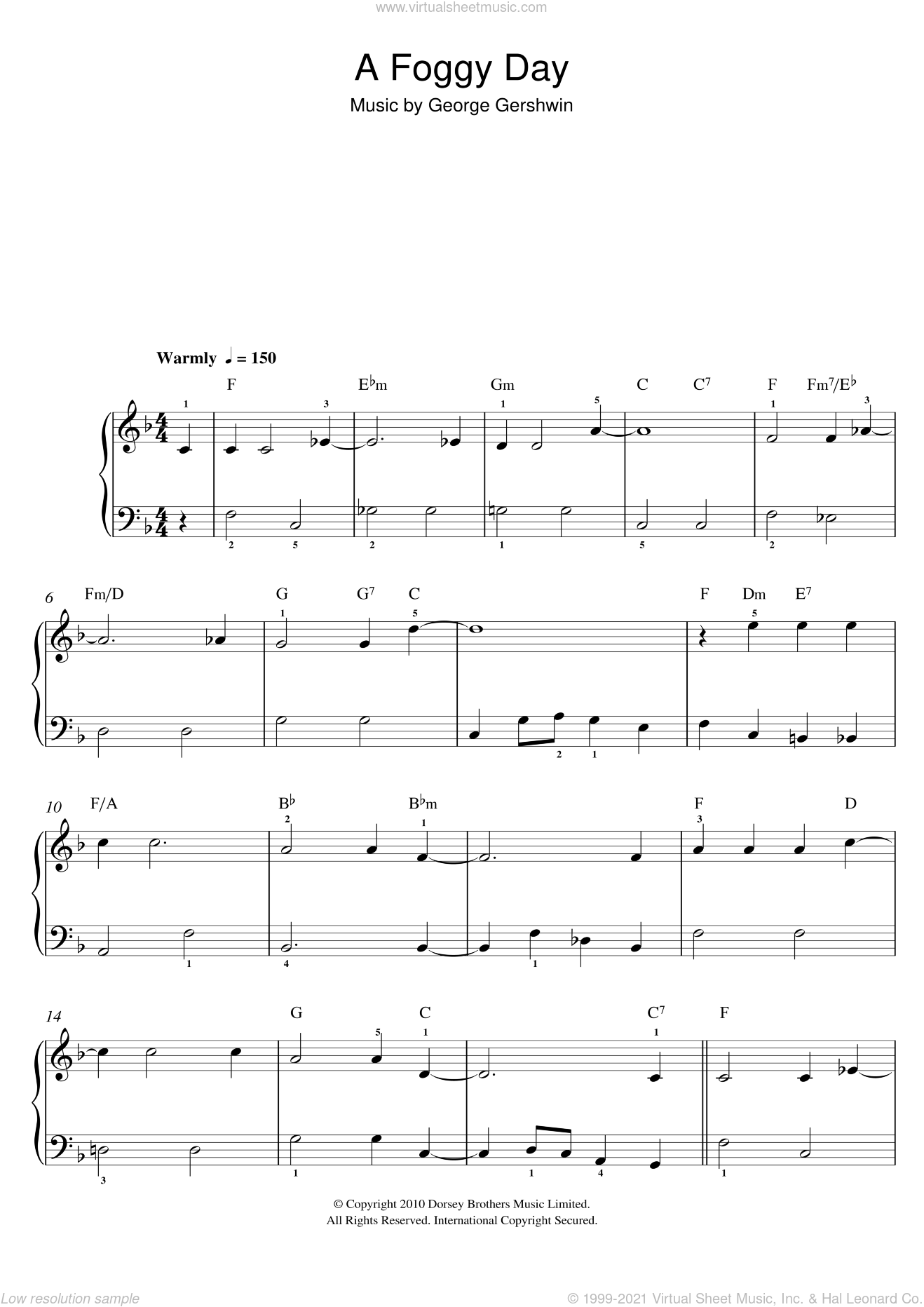 A Foggy Day, (easy) sheet music for piano solo by George Gershwin, easy skill level