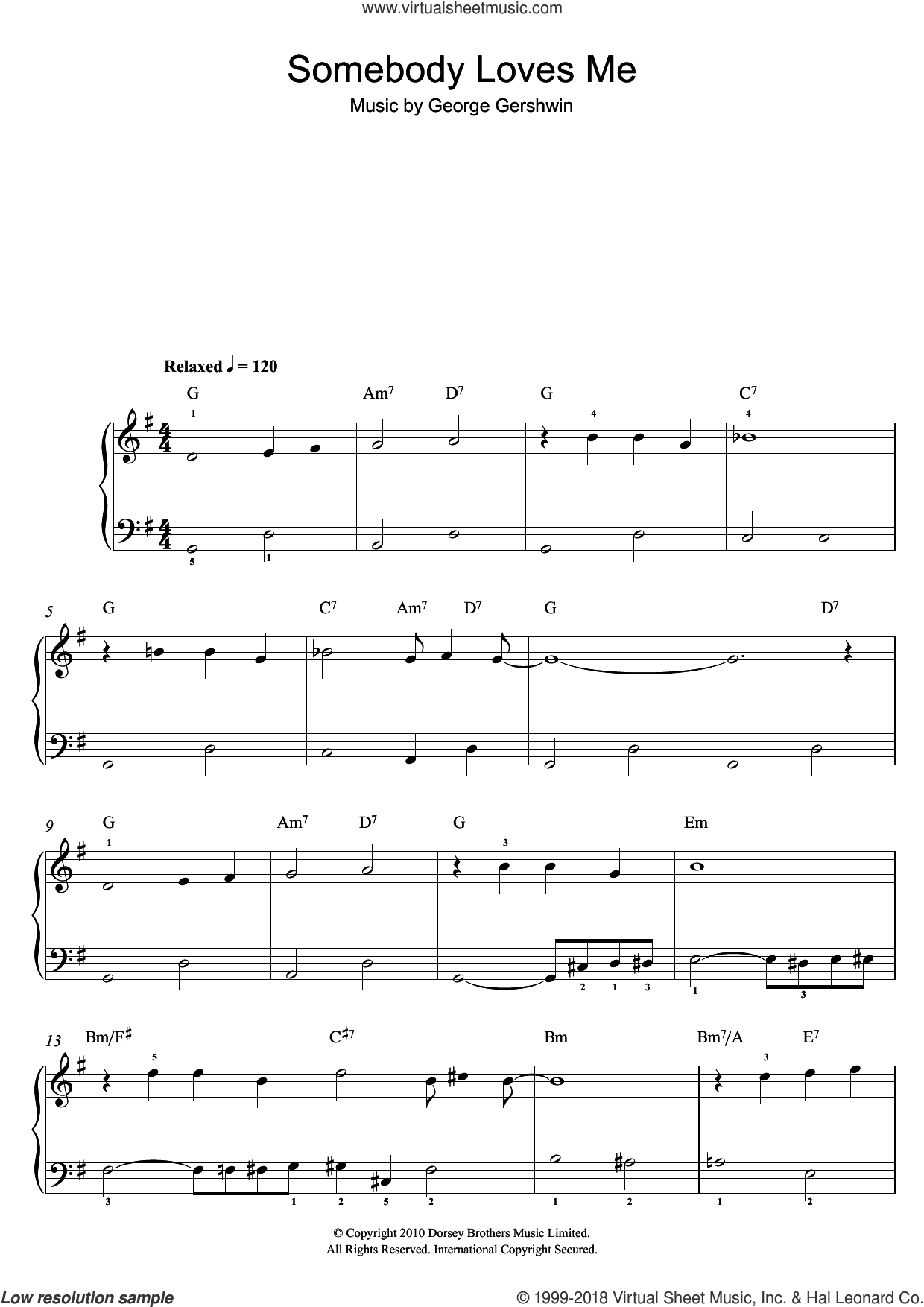 Gershwin - Somebody Loves Me sheet music for piano solo [PDF]