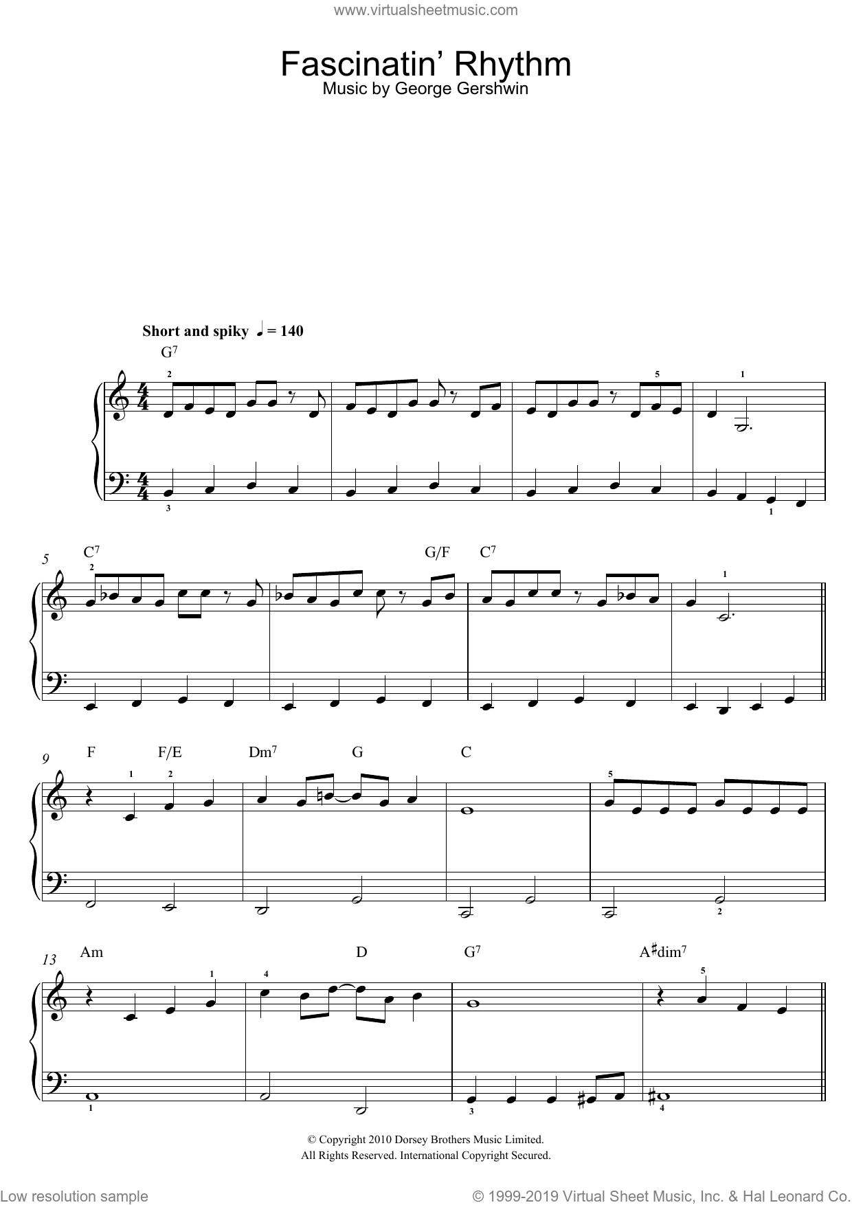 Fascinating Rhythm sheet music for piano solo by George Gershwin, easy skill level