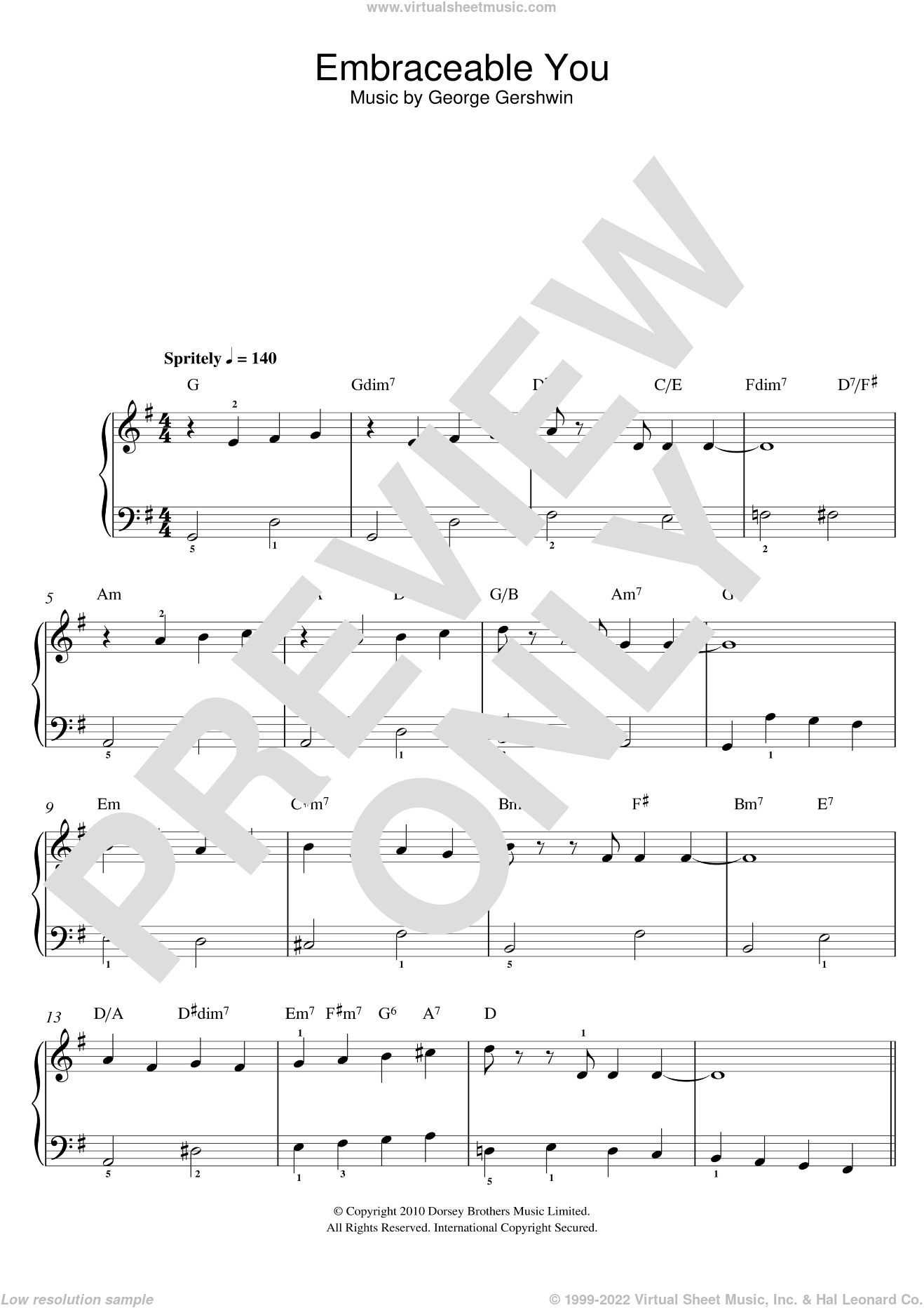 Embraceable You sheet music for piano solo by George Gershwin