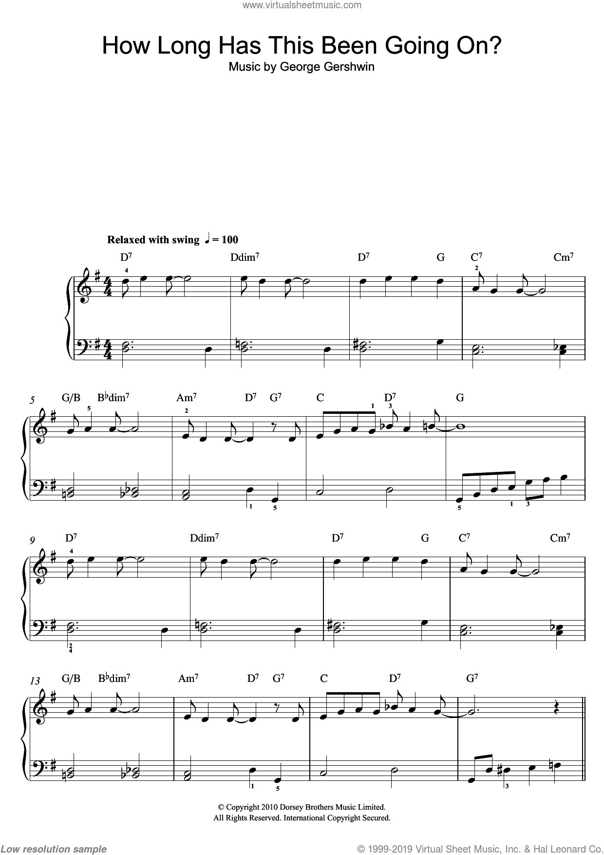 How Long Has This Been Going On? sheet music for piano solo by George Gershwin, easy skill level