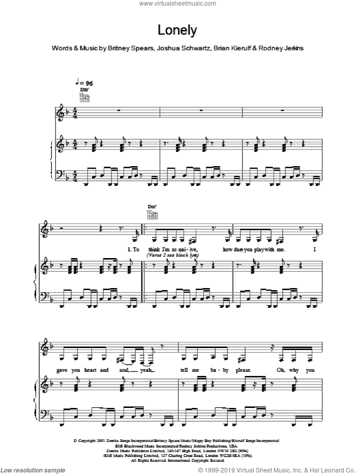 Lonely sheet music for voice, piano or guitar by Kierulf