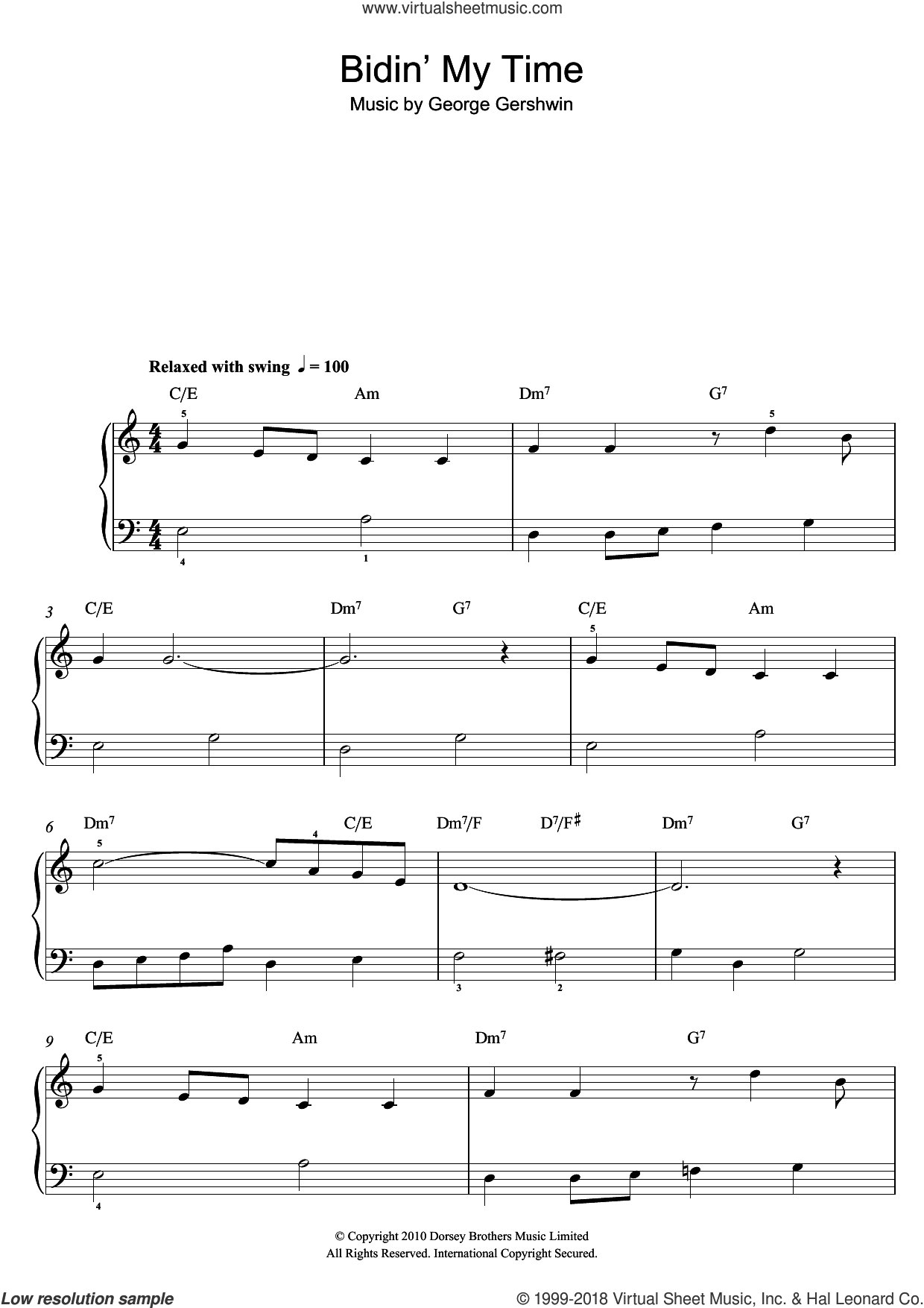 Bidin' My Time sheet music for piano solo by George Gershwin. Score Image Preview.