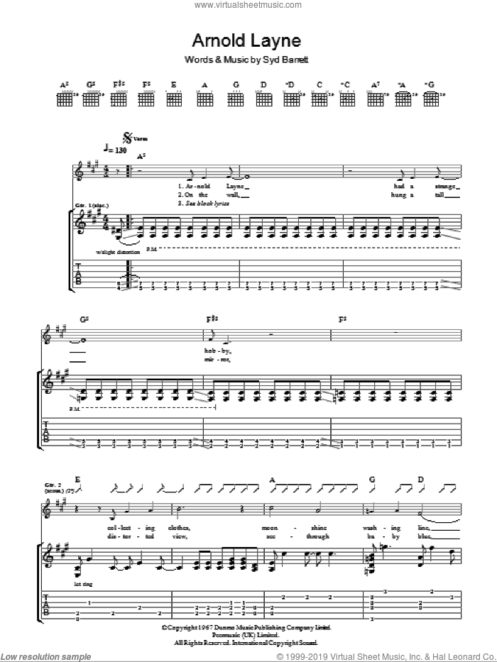 Arnold Layne sheet music for guitar (tablature) by Pink Floyd and Syd Barrett