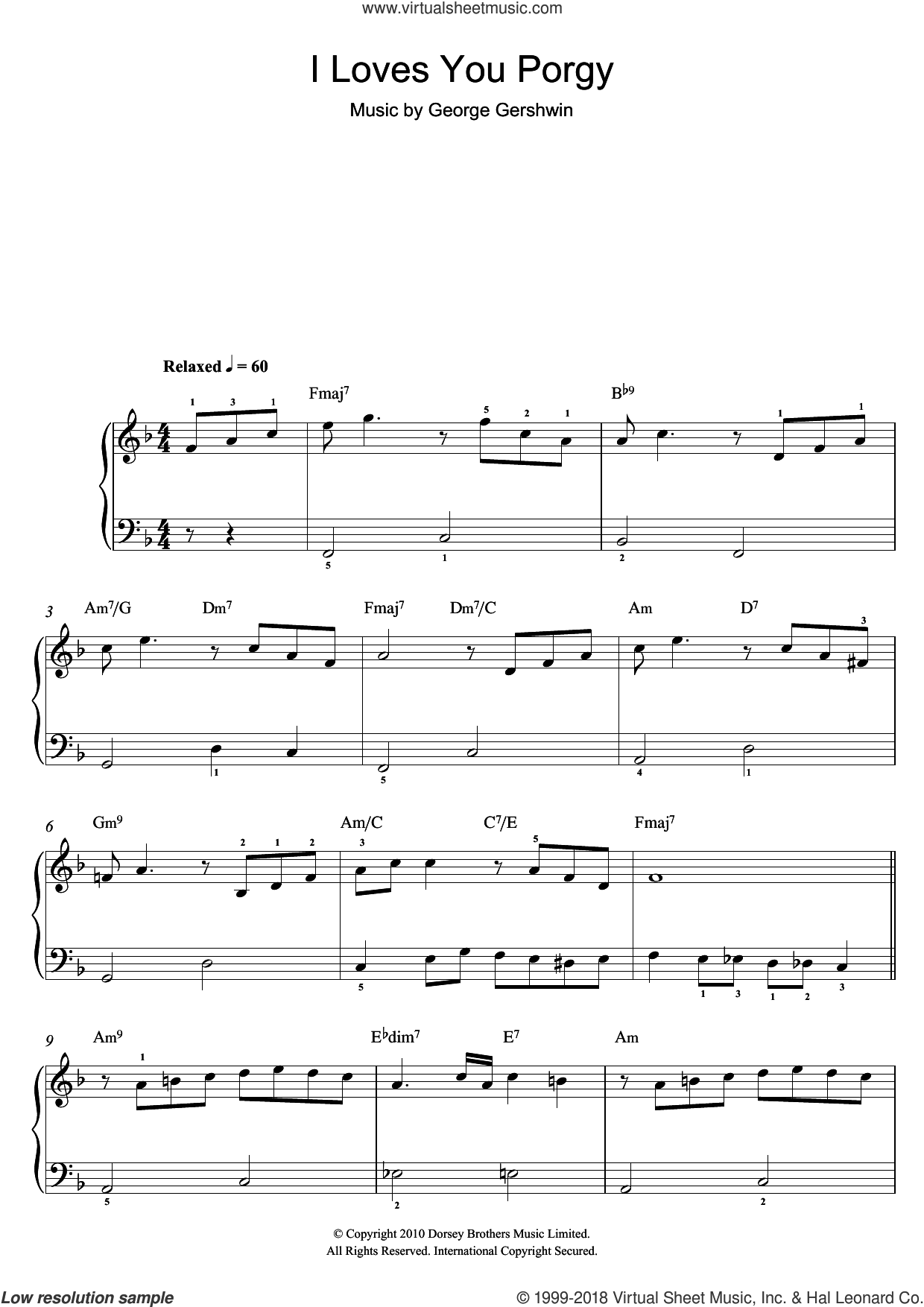 I Loves You, Porgy (From Porgy And Bess) sheet music for piano solo by George Gershwin, easy skill level