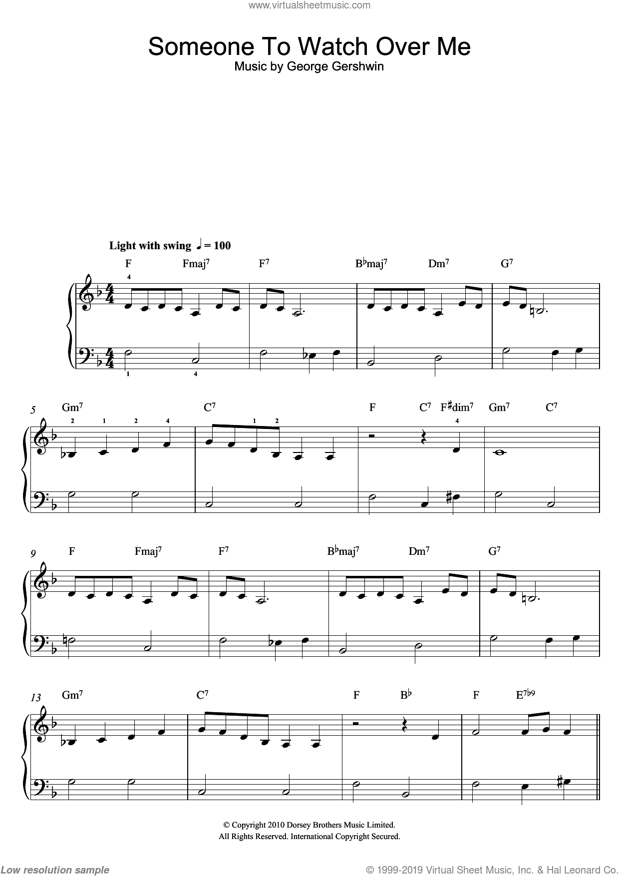 Someone To Watch Over Me sheet music for piano solo by George Gershwin